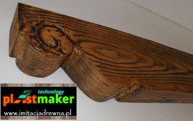 listwy dekoracyjne belki drewniane imitacja na elewacji