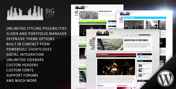 Big City 2.0 Wordpress Theme Free Download by ThemeForest.
