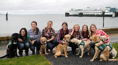 Seven Delta Gamma sorority members wearing plaid shirts and jeans crouch next to six GDB Guide Dog puppies-in-training