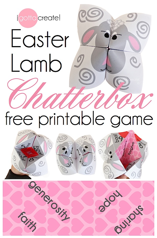 I gotta create easter lamb chatterbox game aka cootie catcher easter lamb chatterbox or cootie catcher game cute free printable pronofoot35fo Images
