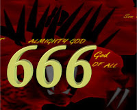 (c)Erika Grey a graphic of a golden dimensional 666 hristAgainst the Image of the Beast of Revelation-the 7th and 8th head of the Antichrist.   The 666 in gold represents idolatry and the Antichrist seeking worship of him through the Mark of the Beast or 666 and the 7th and 8th heads are scarlet colored with the names of blasphemy and the ten horns and the little horn described in the book of Revelation and the book of Daniel adding to the meaning of 666.