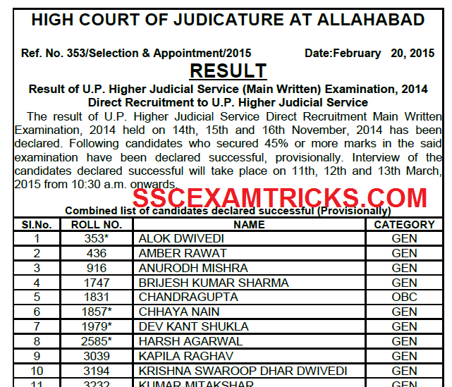 UPHJS MAIN EXAM 2014 RESULT