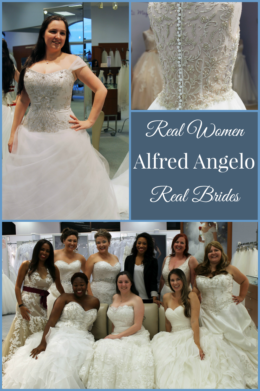 An amazing experience trying on beautiful Alfred Angelo wedding gowns.