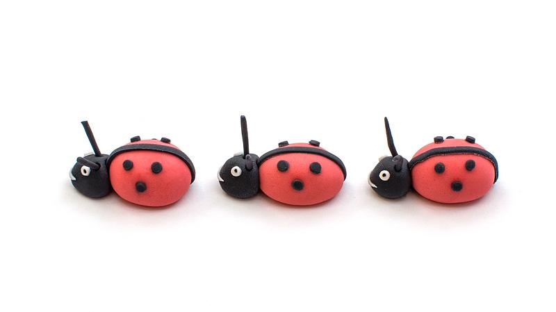 Ladybug fondant trio side figurine