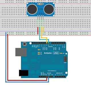 Skematik HC-SR04 dan Arduino