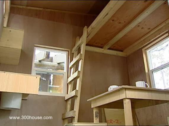 Interior de una pequeña casa para homeless del Canadá