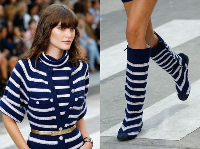 Chanel 2015 SS Cashmere Bodysuit in Marine Stripes on Runway