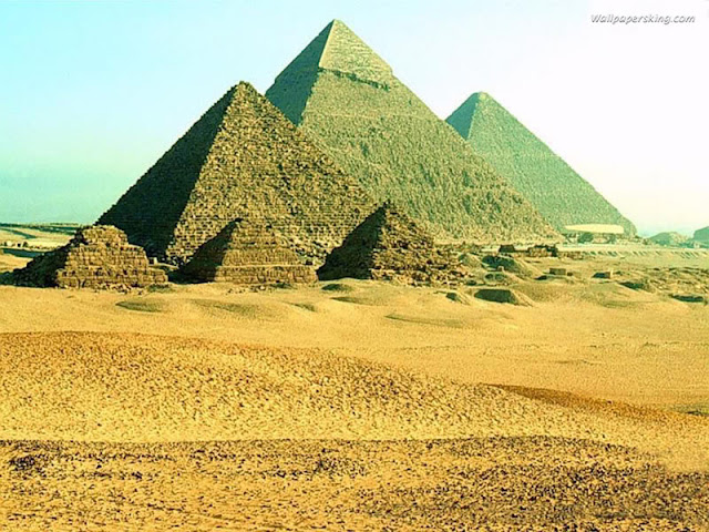 The pyramids and the sphinx in Egypt