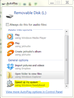 Screen shot of AutoPlay for USB and ReadyBoost