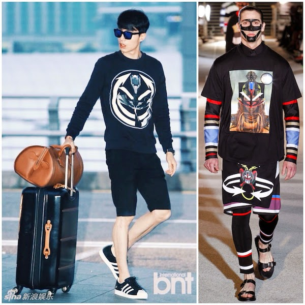 Lee Dong-wook wears Givenchy African tribal target print sweatshirt with Louis Cartier brown leather travel bag - Incheon International Airport 24th August 2014