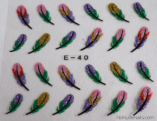 Pueen 3D nail art stickers feathers