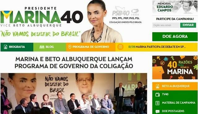 Página da Marina Silva