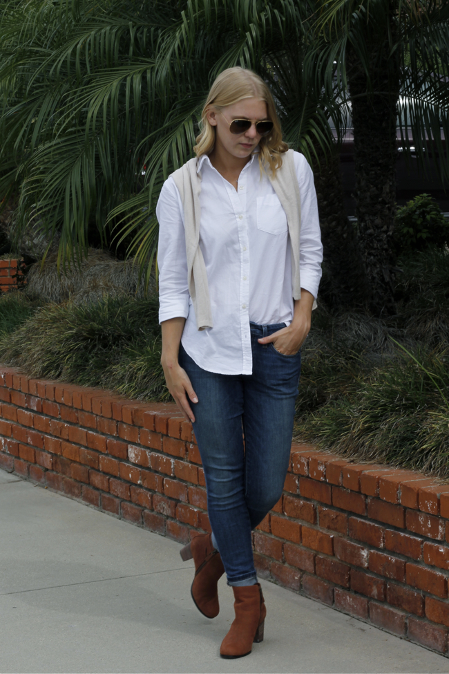 Outfit post, white shirt, Old Navy, Joes, Denim, Jeans, Sweater, Huntington Beach