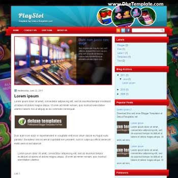 PlaySlot blogger template. magazine style template blogger. featured content blogger template. games template blogger