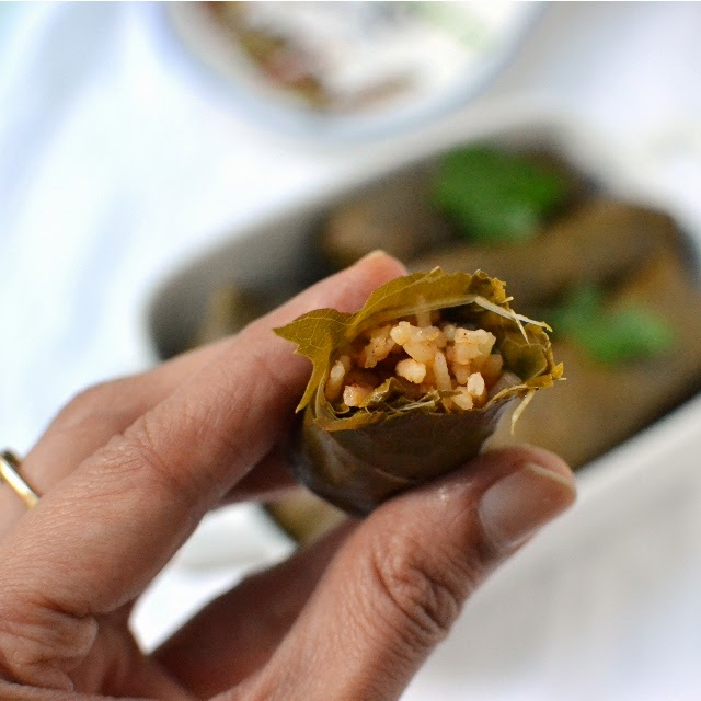 Turkish Sarma -- Stuffed Grape Leaves (Vegetarian recipe)