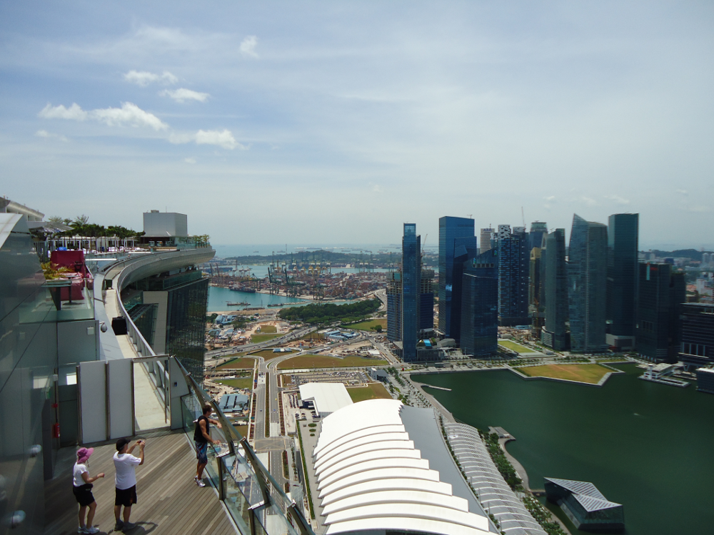Marina bay sands skypark 360 degree view of singapore - Singapore marina bay sands infinity pool ...
