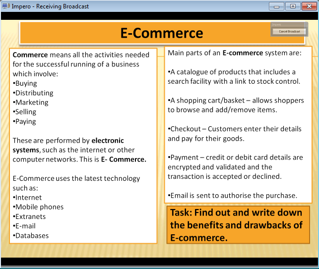 drawbacks of e commerce information technology essay Meaning of e-commerce: the fast and dramatic changes in information technology specially in last one decade has given new concept of e-commerce requires visit of website, selection of products, select a payment mode, realization of money (which is done before dispatch) and dispatch of goods.