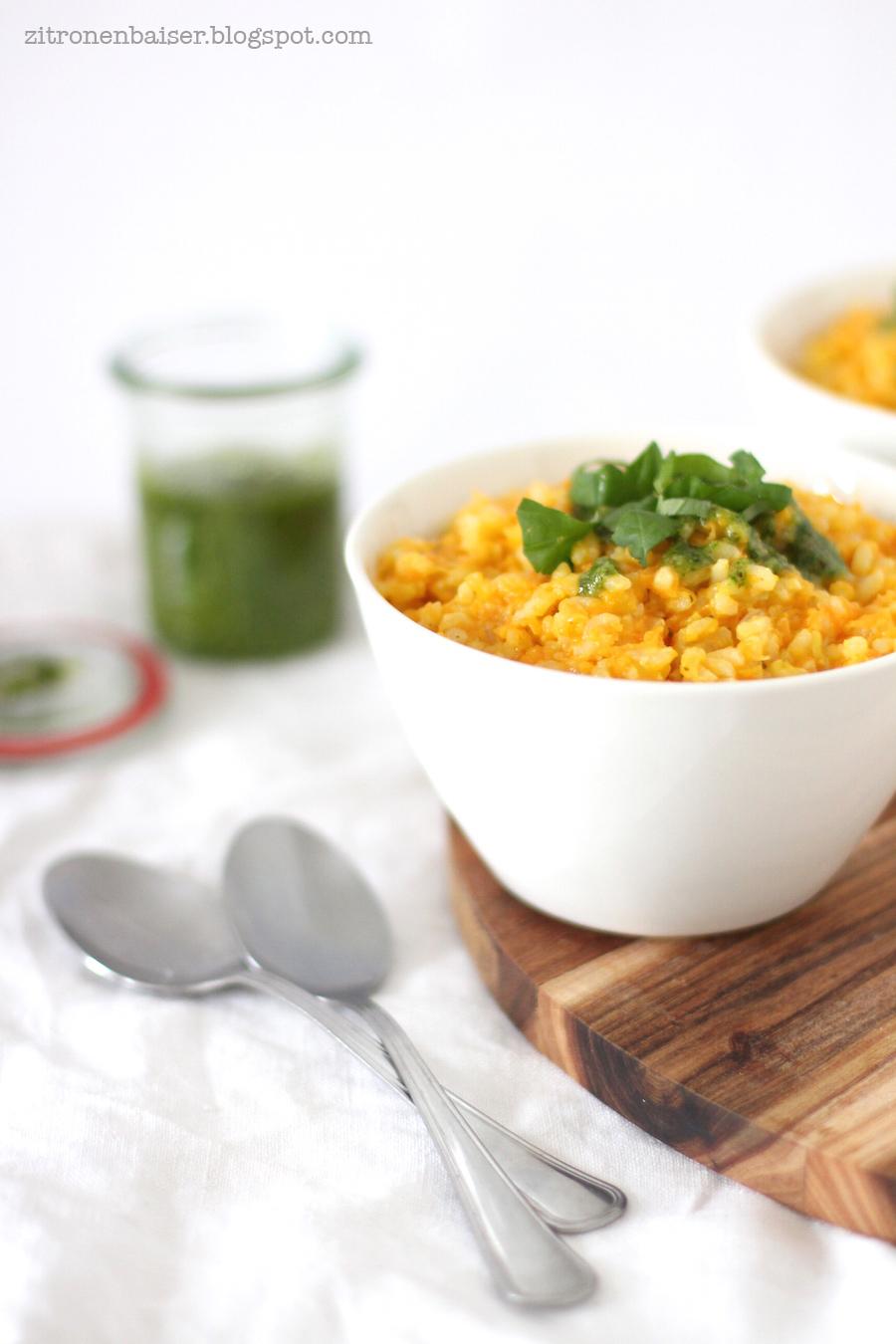Rezept Möhren Risotto mit Bärlauch-Pesto Zitronenbaiser Blog