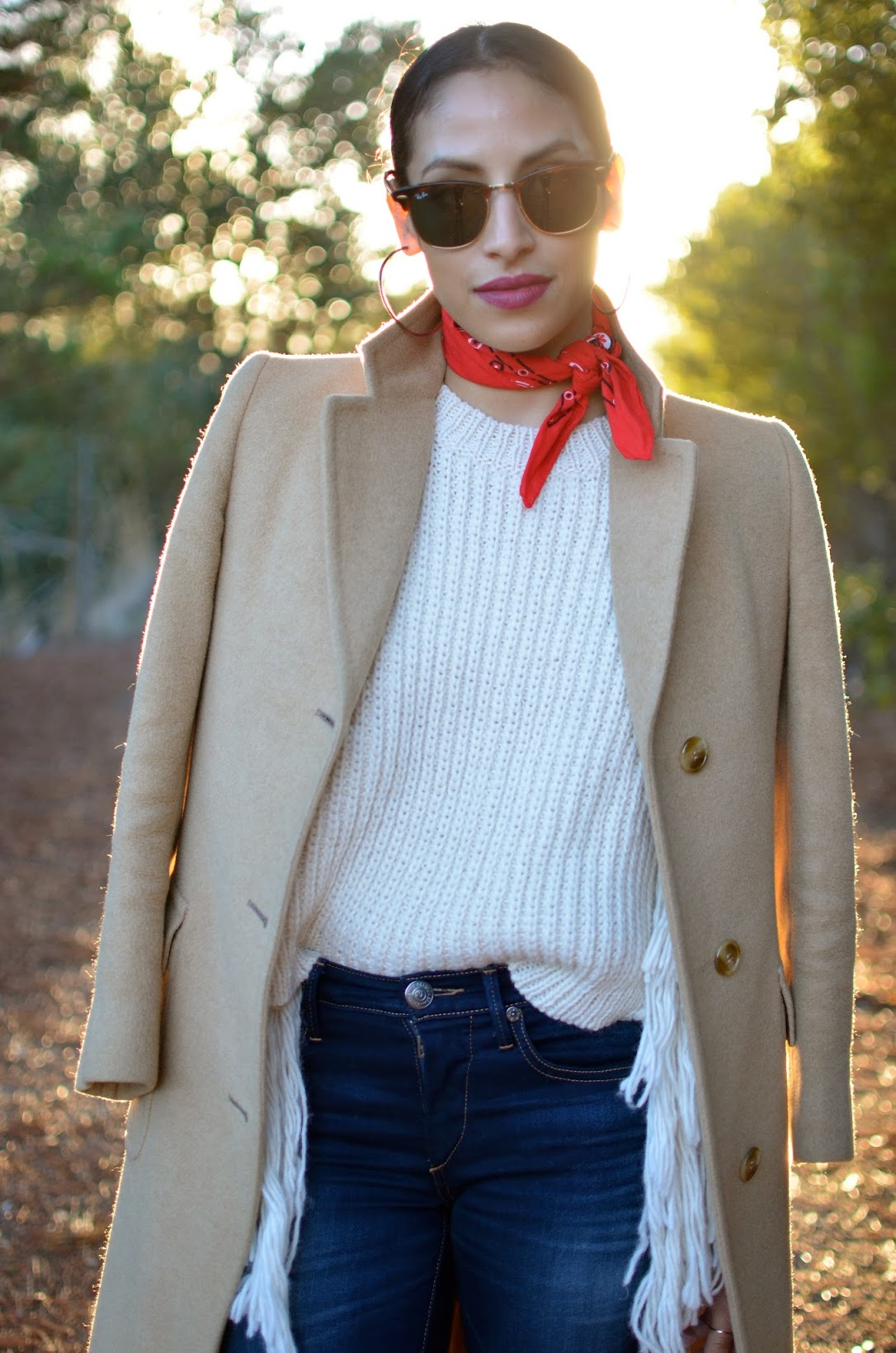 fall fringe, fringe, Asos, As seen on me, red bandana, bandana, middle hair part, ELF wine matte lipstick, wine lipstick, matte lipstick, thrifted vintage coat, True Religion skinny denim, two tone boots, circus by Sam edelman boots, Half Moon Bay
