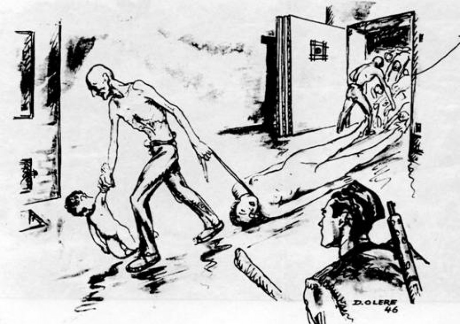 Drawing by David Olere - Sonderkommando removing bodies from the gas chamber