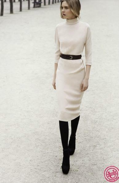 Вязаное платье футляр с чем носить