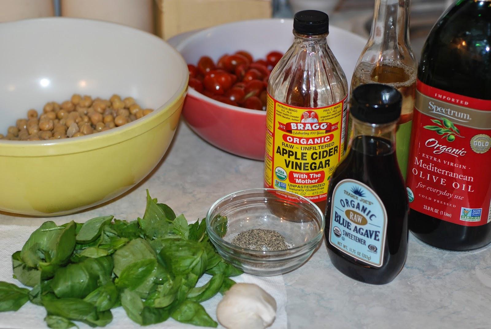 vegan tomato basil salad