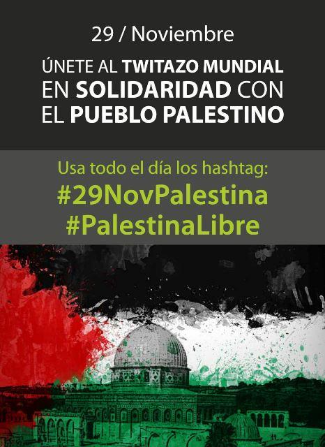 Twittaço mundial 29 de Novembro Palestina