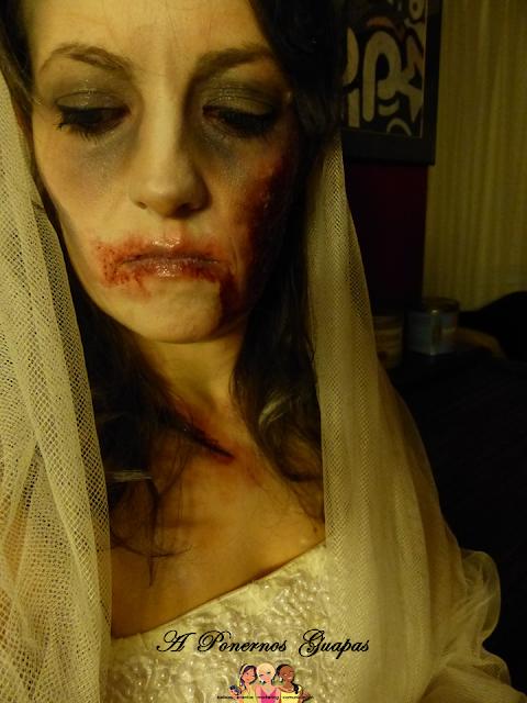 Maquillaje halloween novia zombie Oriflame 6