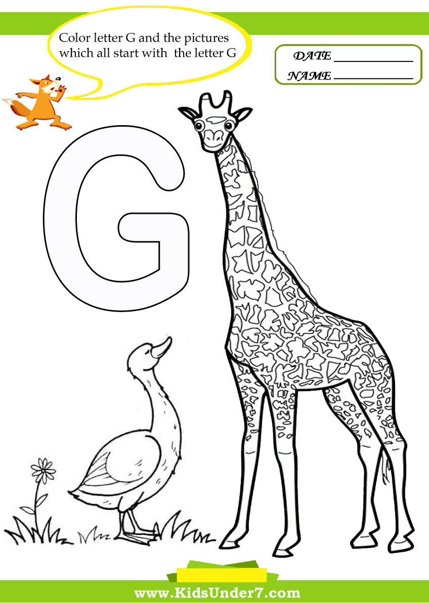 Kids Under 7 Letter G Worksheets and Coloring Pages – Letter G Worksheets for Kindergarten