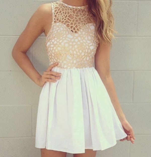 Charming White Mini Dress, Fashion for Spring and Summer