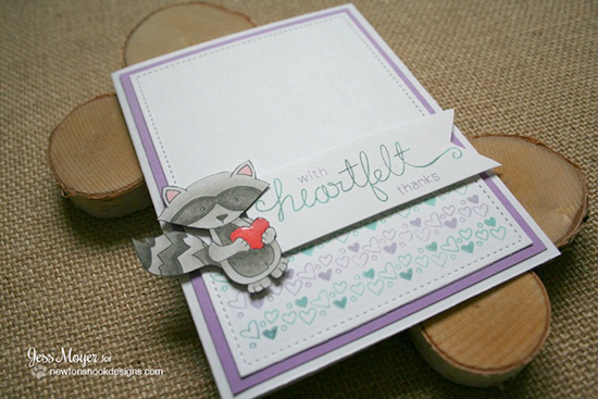 Raccoon Thank you Card by Jess Moyer | Sweetheart Tails Stamps by Newton's Nook Designs