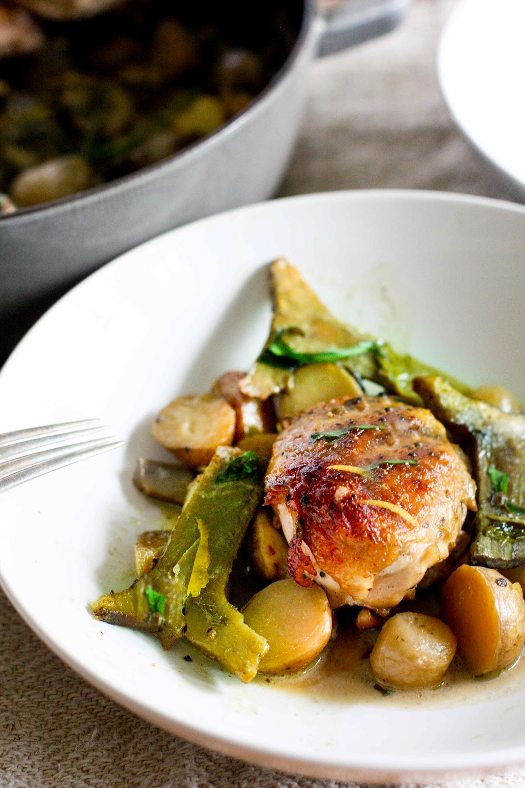 Braised Chicken with Artichokes, Leeks and Tarragon