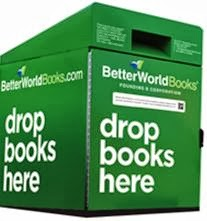 "BetterWorld Books donation bin: ""Drop books here."""