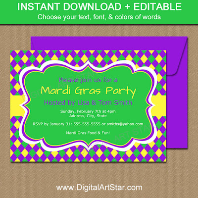 Mardi Gras Party Invitation Template with Editable Text