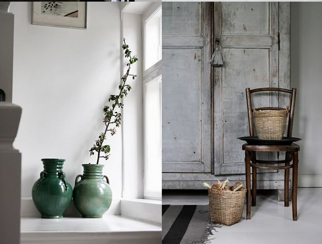 Green flower pots and a rustic chair in a white, well styled home