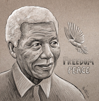 Nelson Mandela - Freedom and Peace - Drawing by Ben Heine