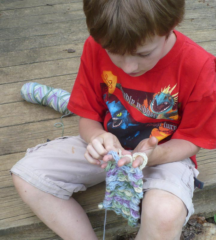 Finger Knitting For Kids : The enchanted tree finger knitting and hula hoop weaving