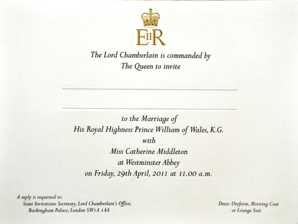royal wedding invitation image. 2011 royal wedding invitation.