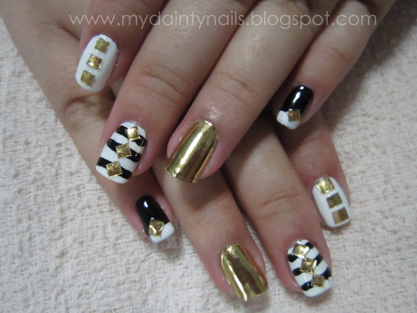 My Dainty Nails: Black. White. Gold.
