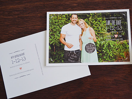 DIY: Krista + Jim Modern Vintage Save The Date Postcard