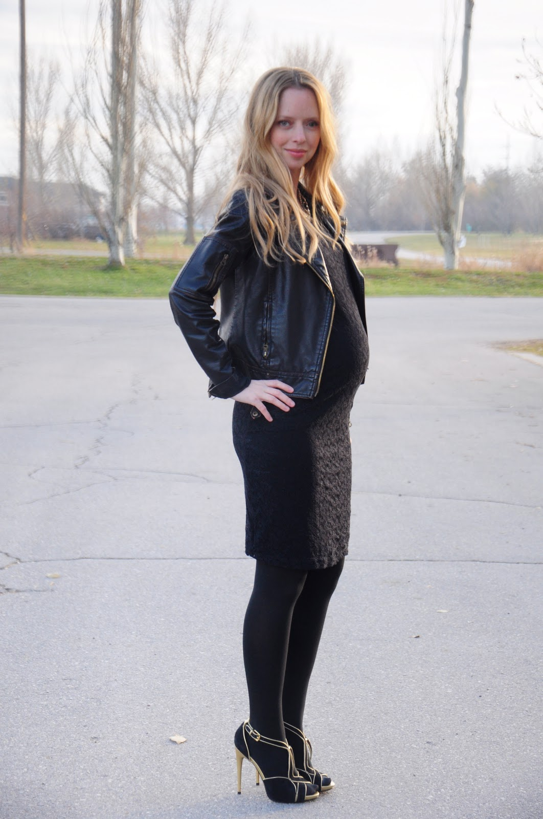 maternity black dress with leather jacket