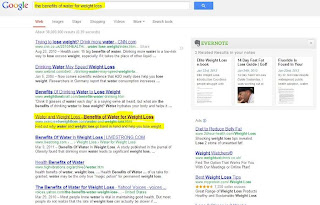 SERP for keyword-stuffed weight loss article