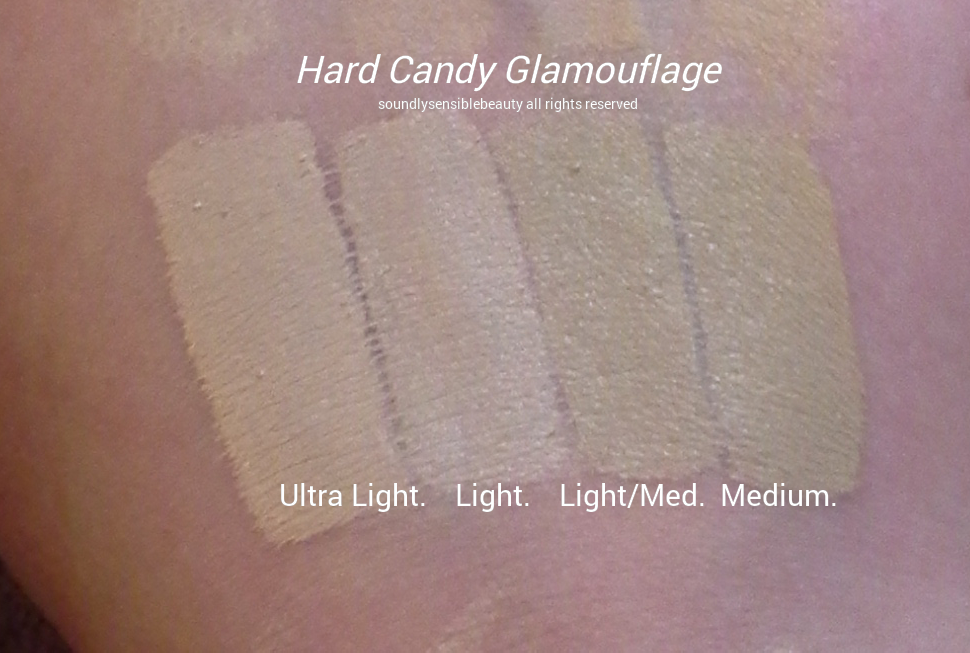 Hard Candy Glamouflage/Glamoflauge Heavy Duty Concealer (Tattoo); Review & Swatches of Shades Ultra Light, Light, Medium, Tan and Light/Medium