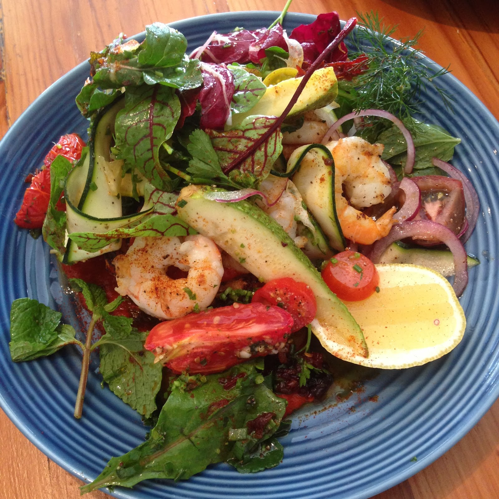the stranded store, adelaide, food, colonel light gardens, prawns, salad, zucchini, haloumi, harissa, local, lunch