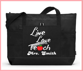 Live Love Teach apple Tote Bag