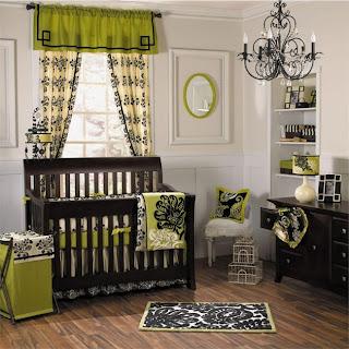 Habitación bebé marrón verde