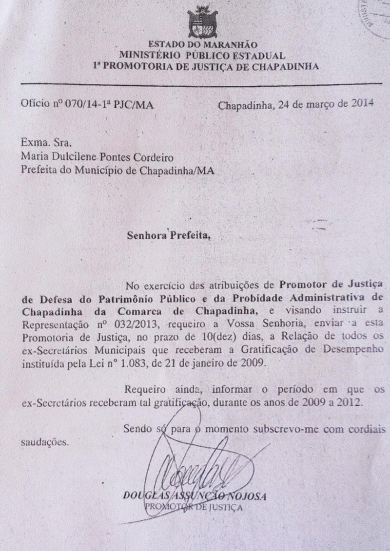 Chapadinha-MA: Gratificação ilegal - Ofício do MP à prefeita