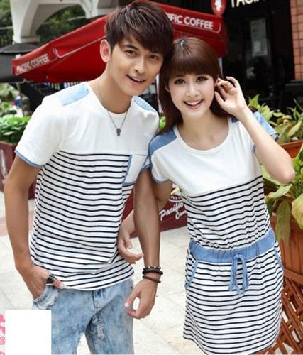 Jual Online Dress Couple Murah di Jakarta Bahan Combed Warna Putih Salur Keren