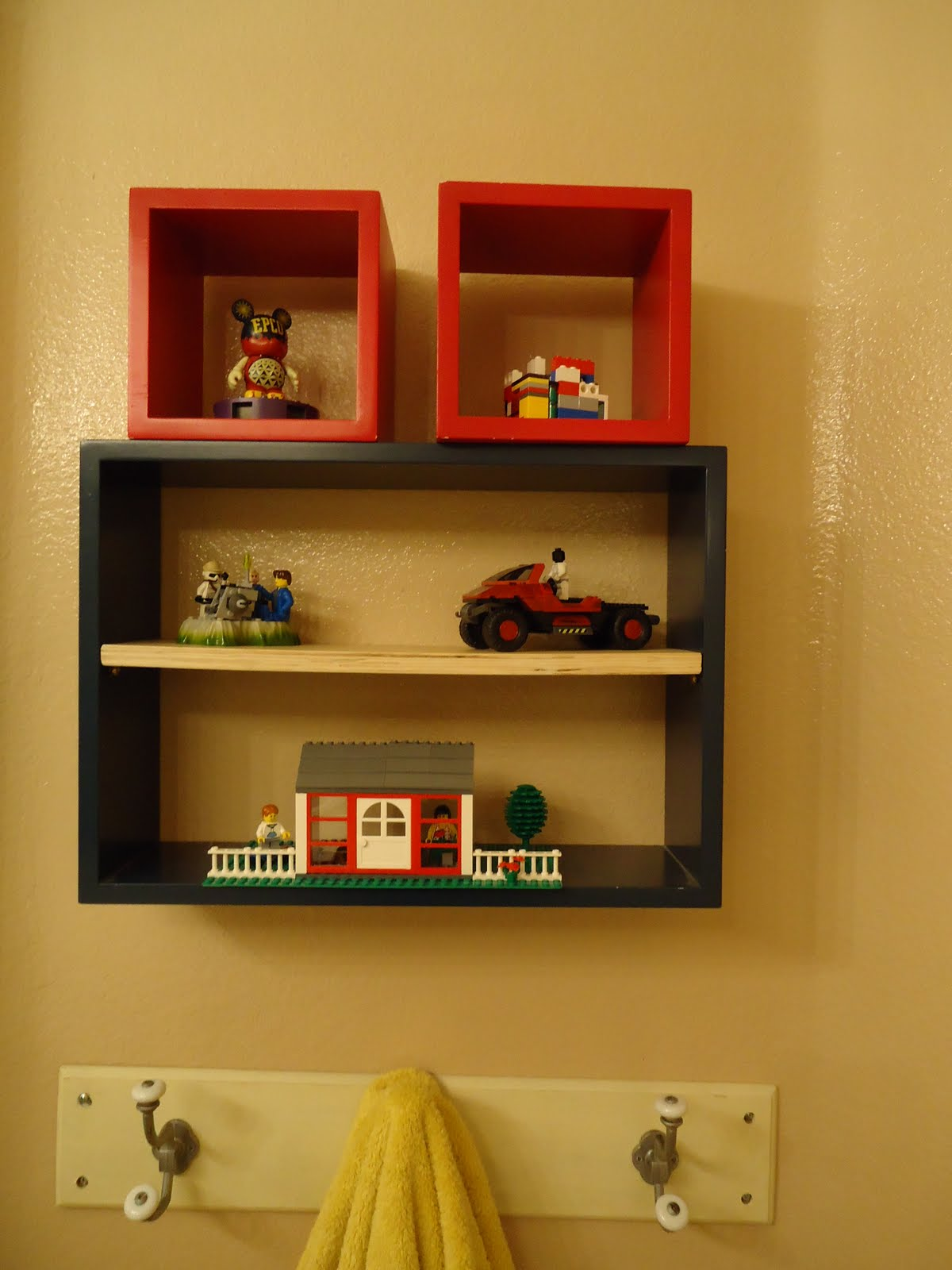 Then I Noticed Theyu0027d Match The Bathroom Perfectly    Woohoo!} Now The Boys  Have A Place To Display All The Lego Creations They Make!