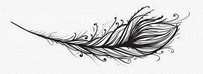 Feather vine lines tattoo stencil